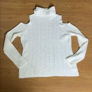 Sweaters - White Turtle Neck Sweater Large Cut Out Shoulder